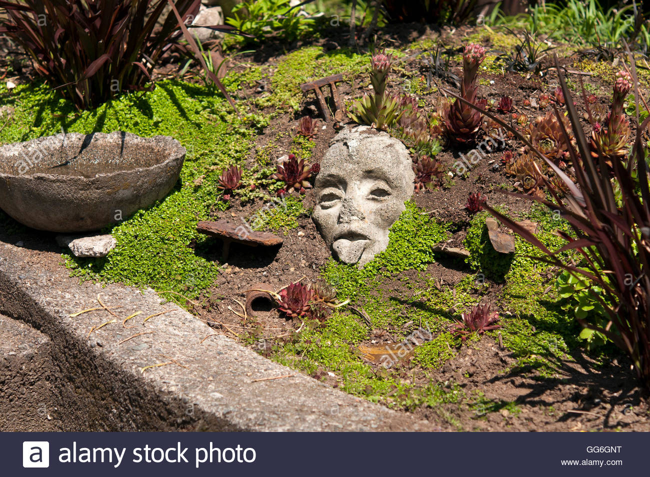 Vancouver, BC   July 2, 2011   A Well Worn But Interesting Garden Face  Sculpture. Photo: © Rod Mountain Http://bit.ly/RM Archiv
