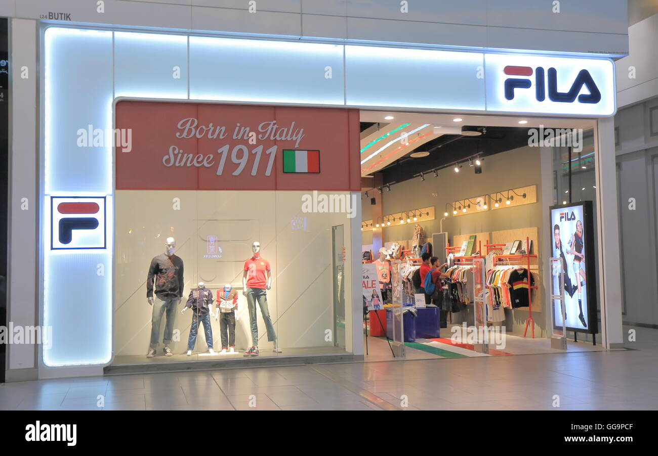 FILA shop FILA was created by the Fila brothers in 1909 originally Stock Photo, Royalty Free ...