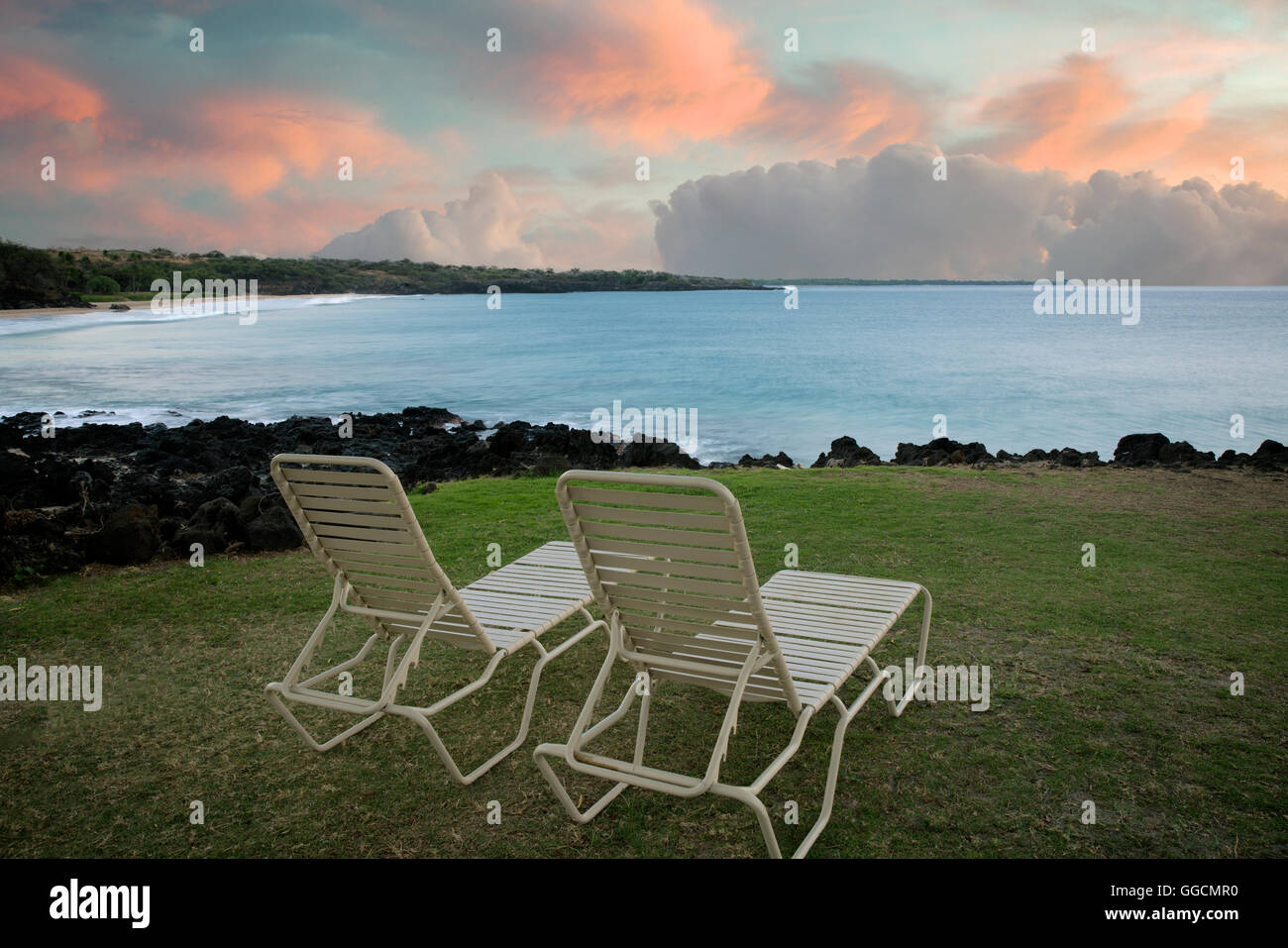 Beach chairs sunrise - Beach Chairs And Sunrise Near Hapuna Beach Hawaii Island