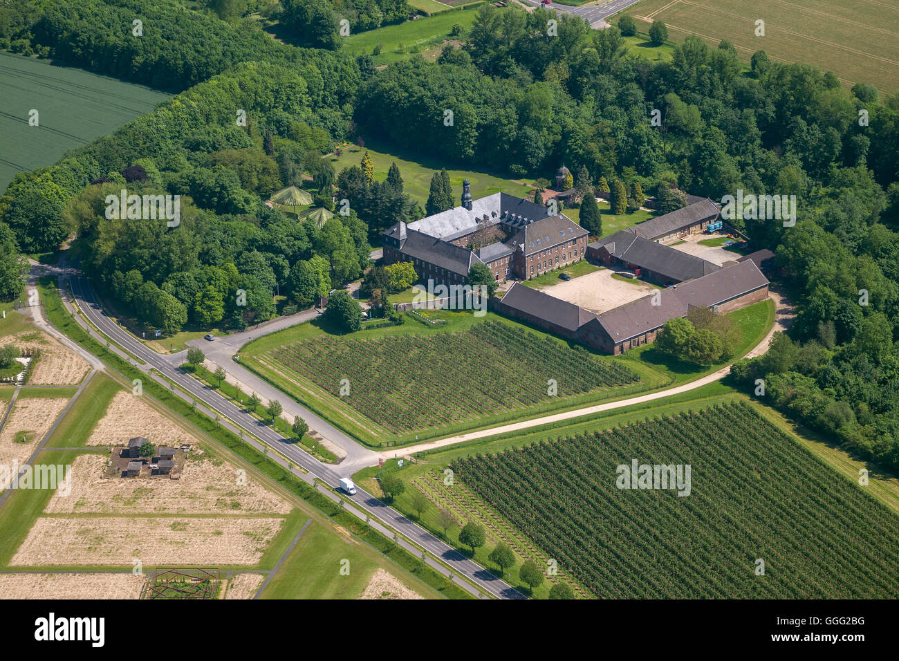 aerial view the nikolauskloster monastery at schloss dyck j chen stock photo royalty free. Black Bedroom Furniture Sets. Home Design Ideas