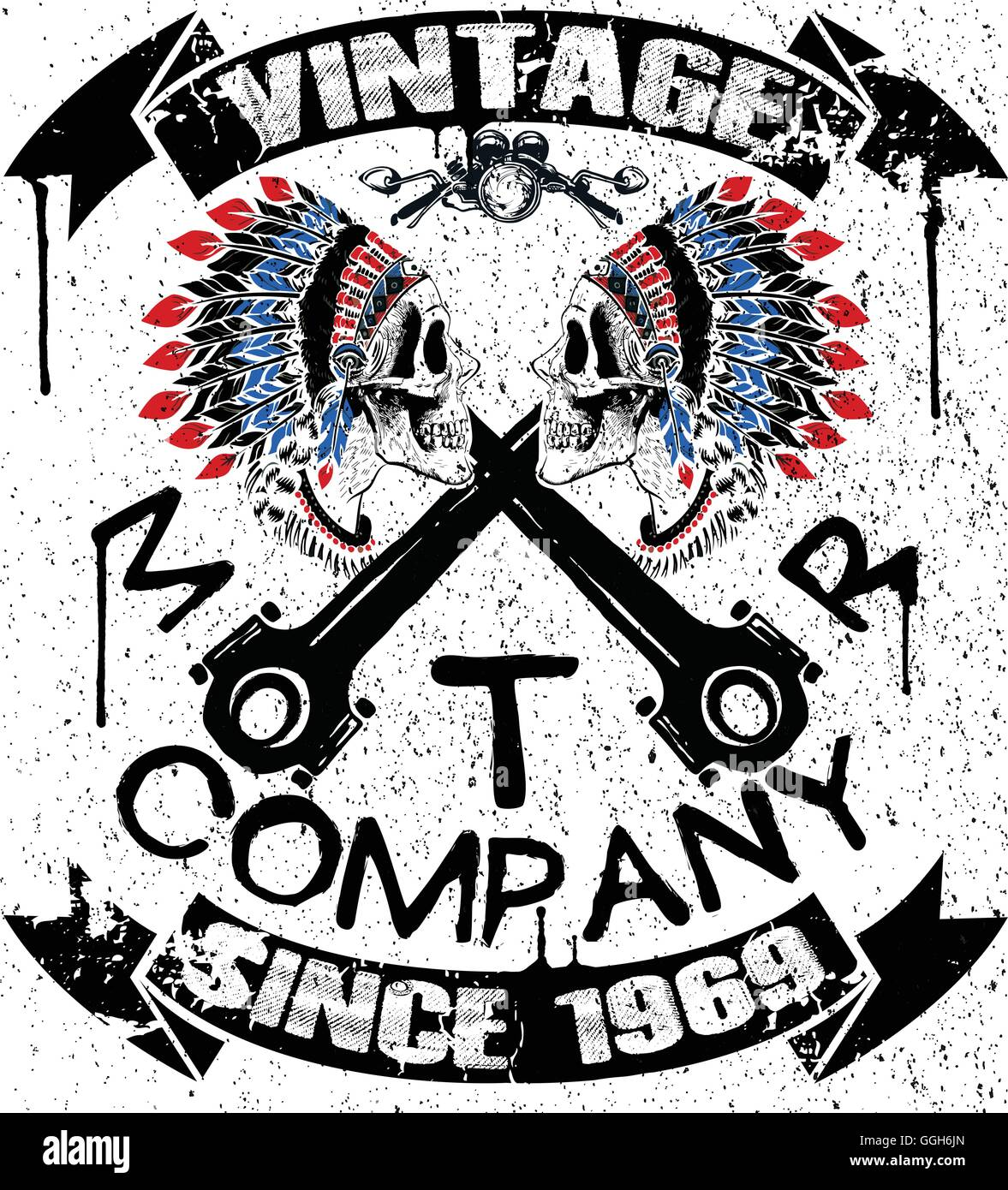 Boho Motor Company Skull Typography T Shirt Graphics Vectors