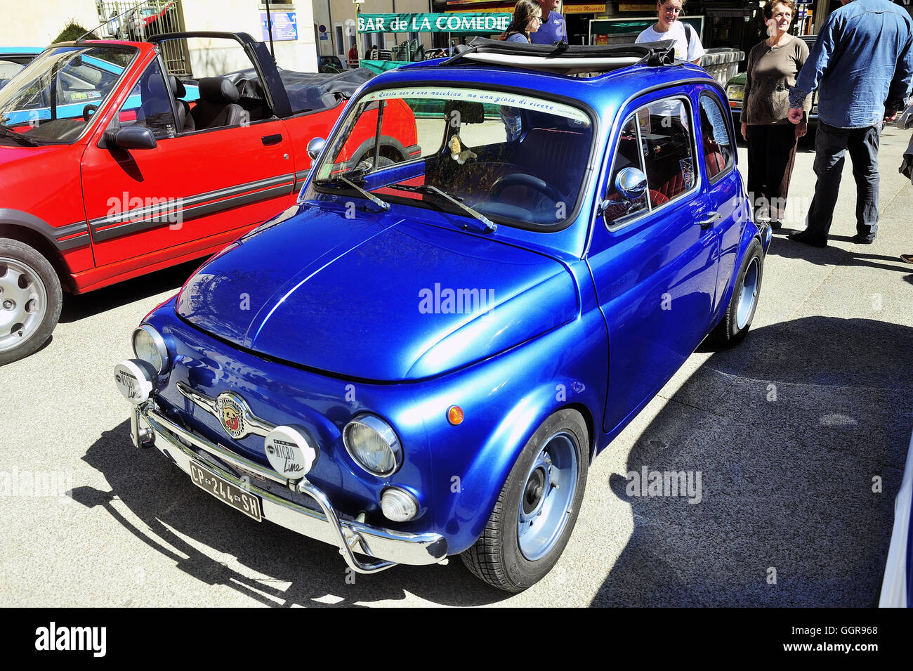 Old Fiat 500 Abarth racing equipped photographed vintage car rally ...