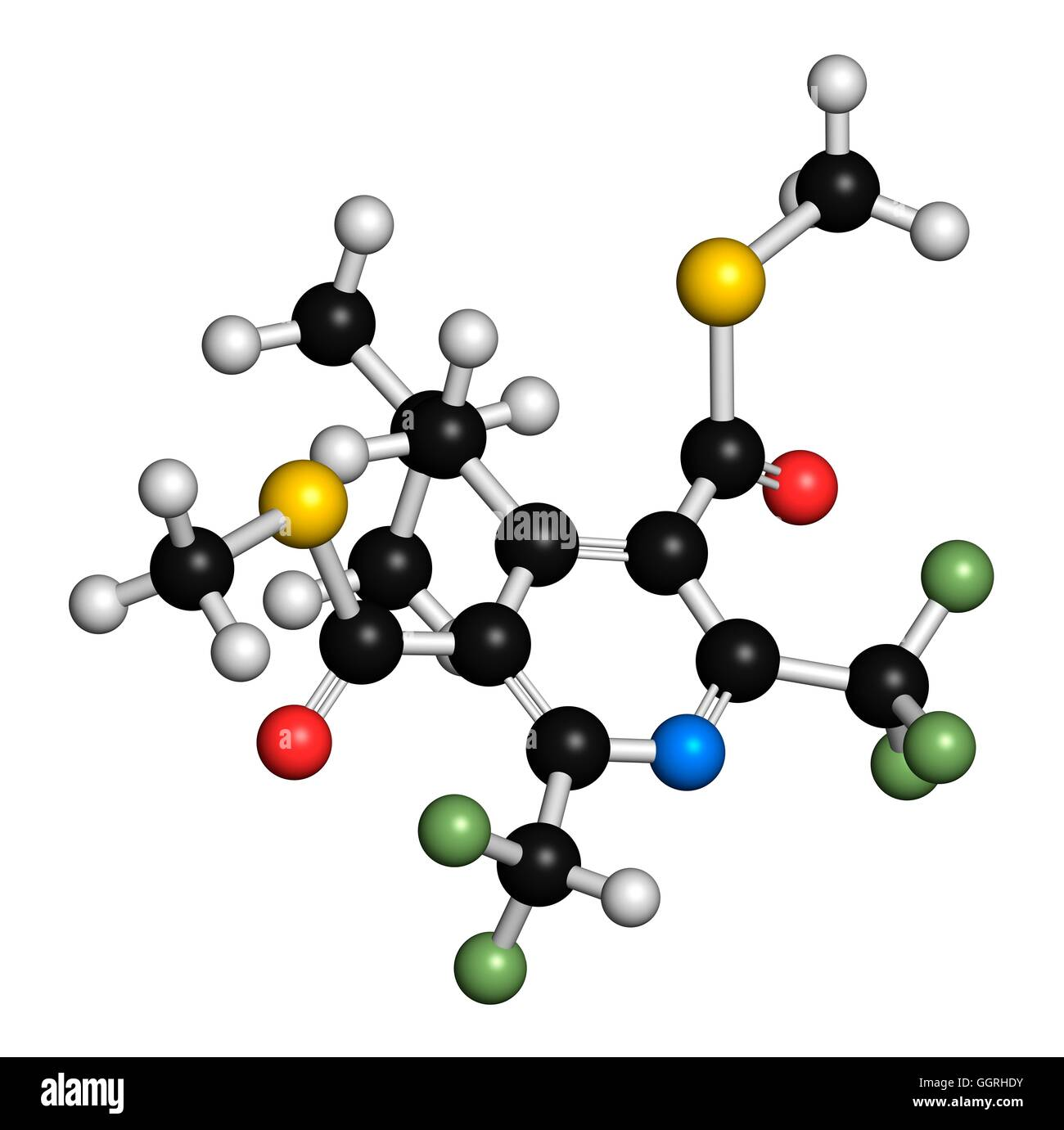 dithiopyr preemergent herbicide molecular model atoms are represented as spheres with colour coding - Preemergent Herbicide