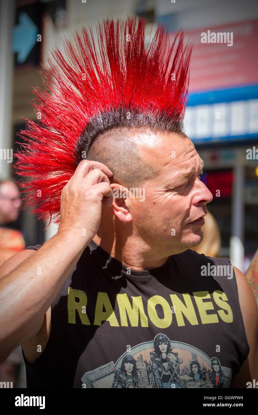 rebellion festival at blackpool winter gardens spiky haired punks