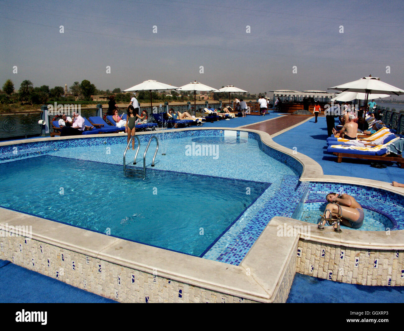 Top deck and swimming pool of the 5 star nile cruise ship ms stock photo 113686107 alamy for River cruise ships with swimming pool