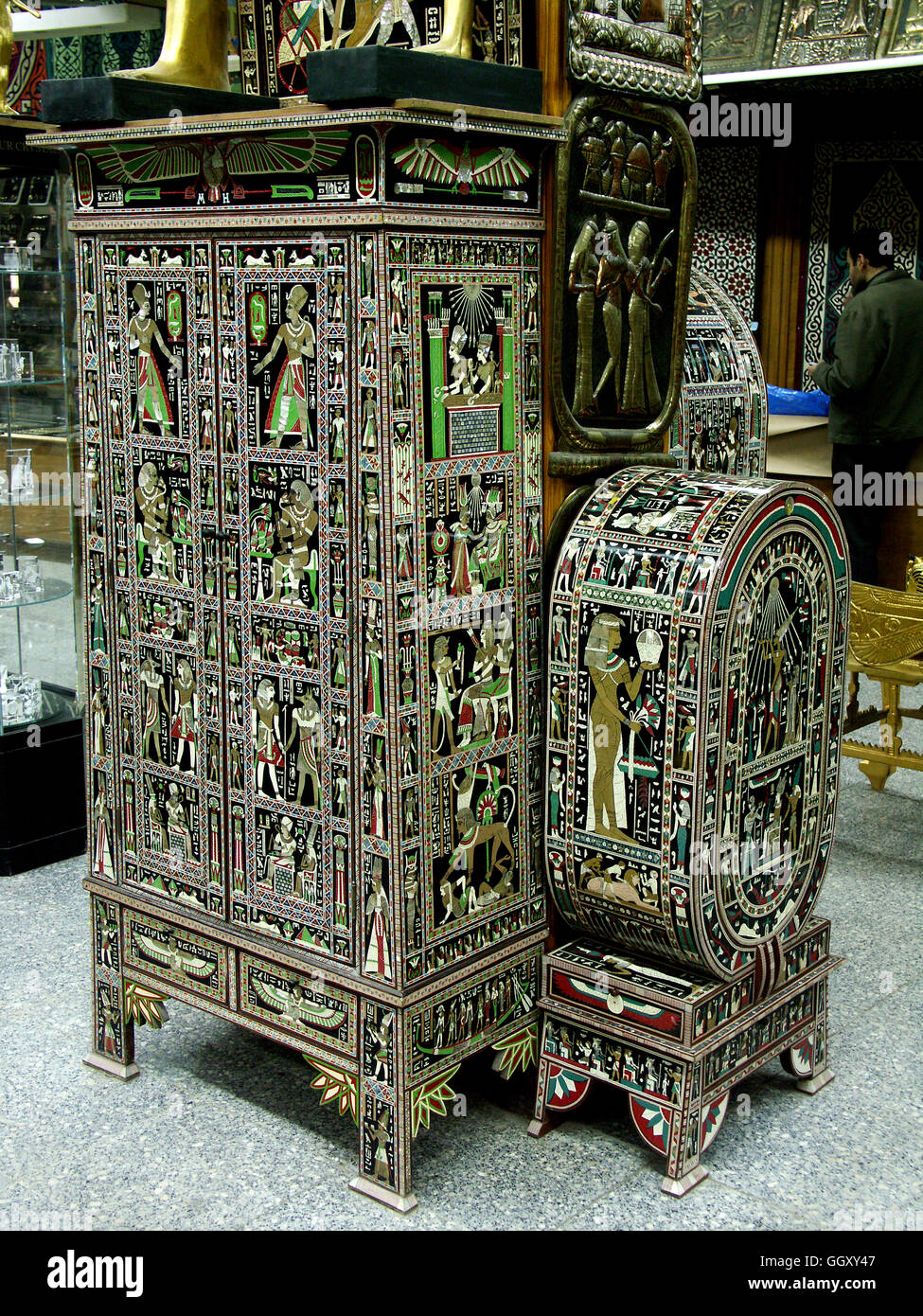 Stock Photo   Store In The Coptic Neighborhood Of Cairo Selling Furniture  Modeled After Ancient Egyptian Artifacts. Cairo U2013 Egypt