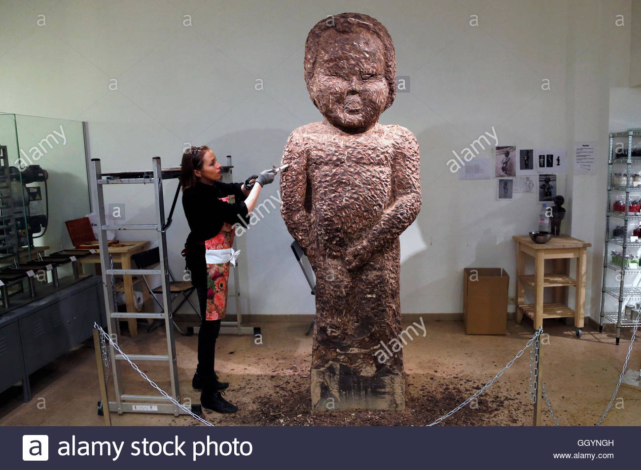 Sculptor Stephanie Dewitte Of France Carves A Chocolate Model Of ...