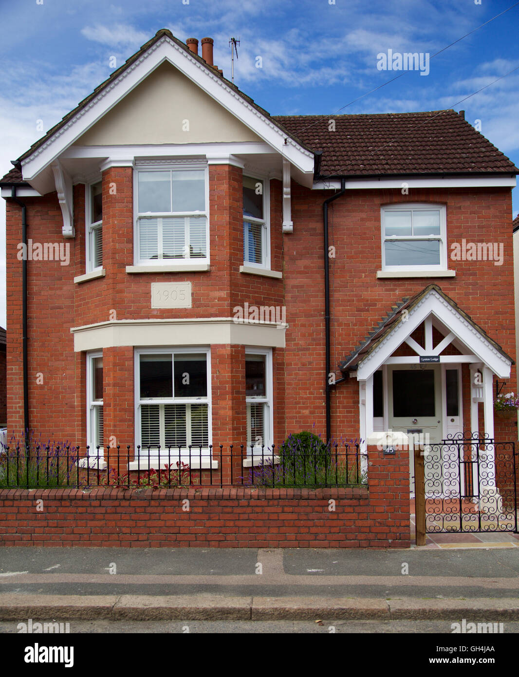 Front view of refurbished Edwardian detached house on English ...