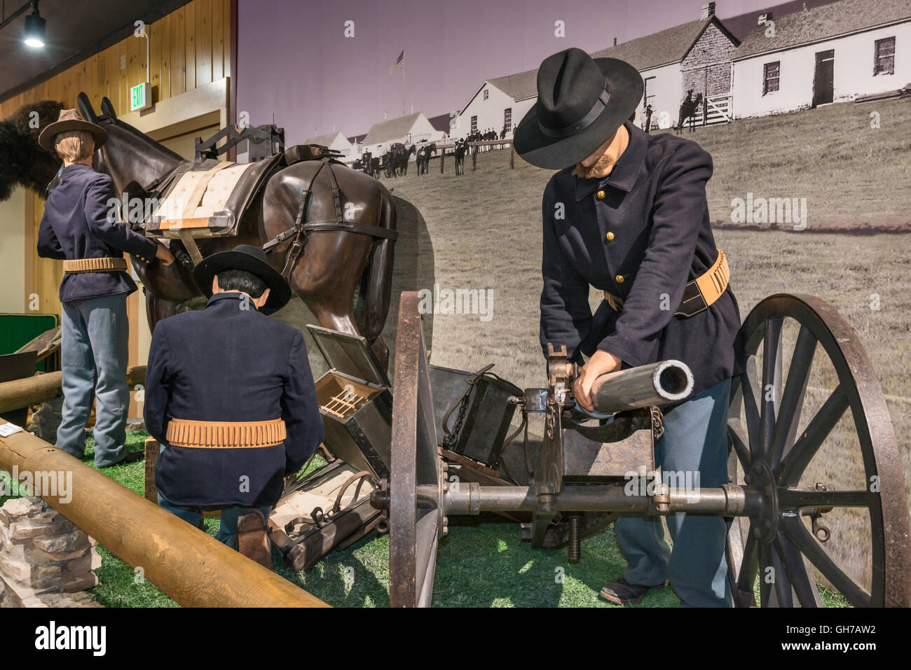 Soldiers With Hotchkiss Light Mountain Gun Diorama At Museum In - Gun museums in usa