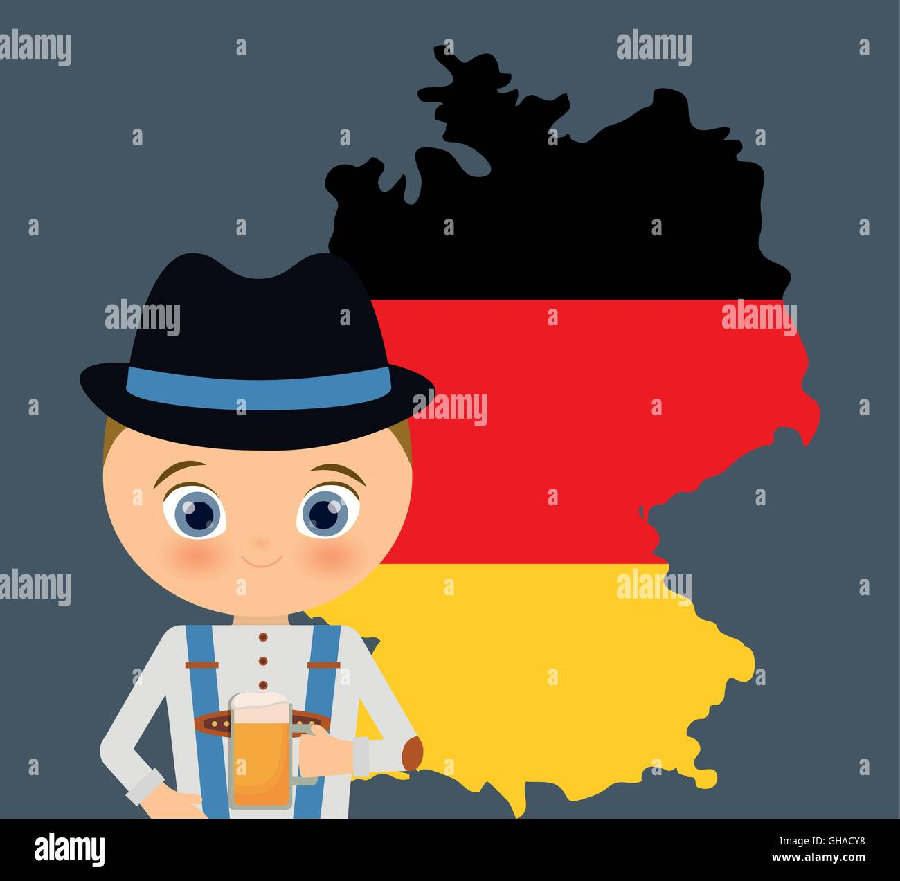 Beer Boy Cartoon Hat Oktoberfest Map Icon Germany Vector Graph - Germany map cartoon