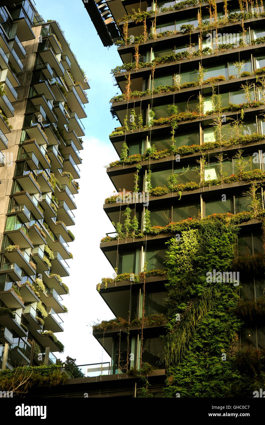 Vertical Garden On Sydney High Rise At Green Square Stock