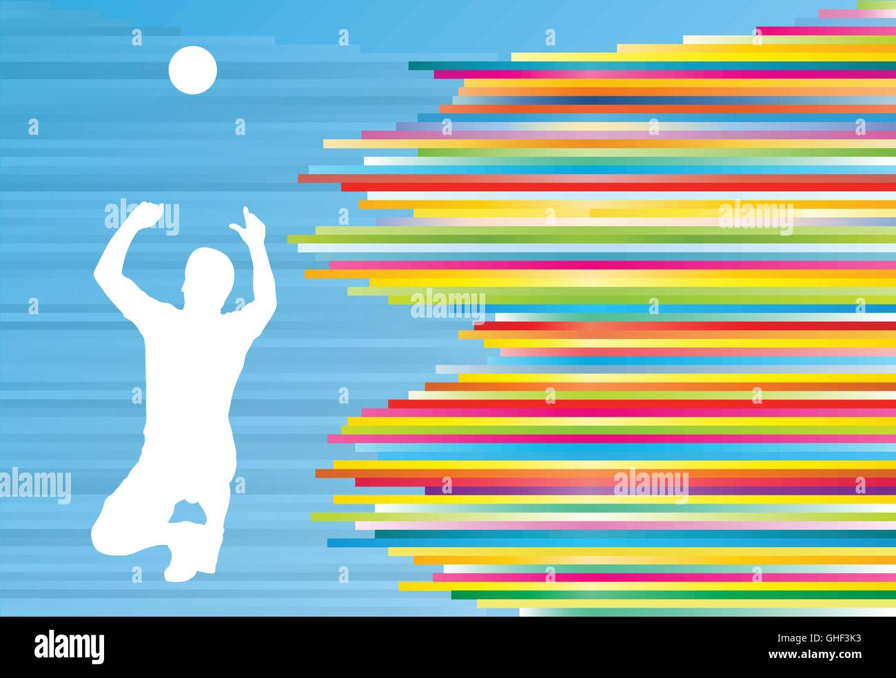 Illustration Abstract Volleyball Player Silhouette: Volleyball Player Man Silhouette Abstract Vector