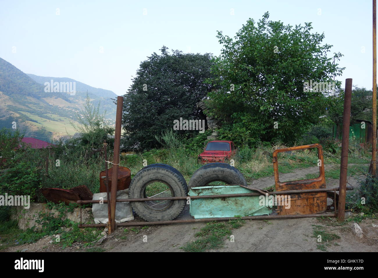 farm gate Haghpat village northern Armenia barrier made of old car ...
