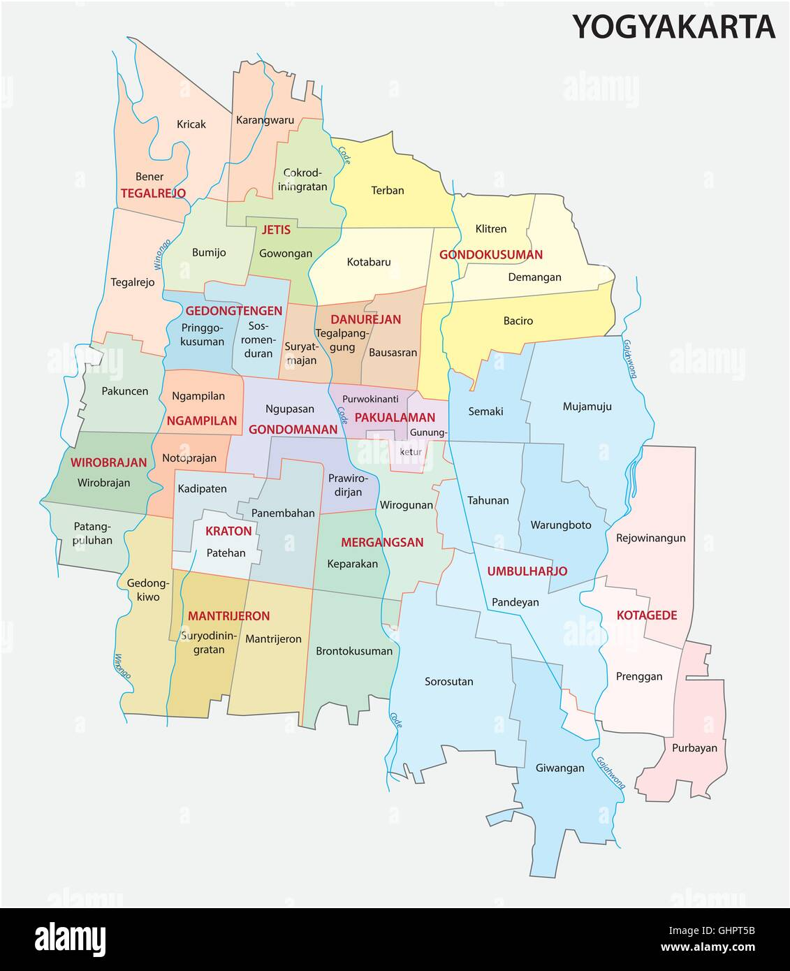 Administrative And Political Map Of The Indonesian City Of - Yogyakarta map