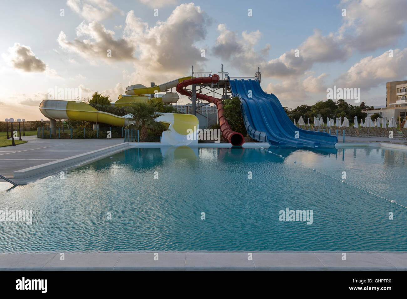 Empty Open Air Swimming Pool And Aquapark In Paphos