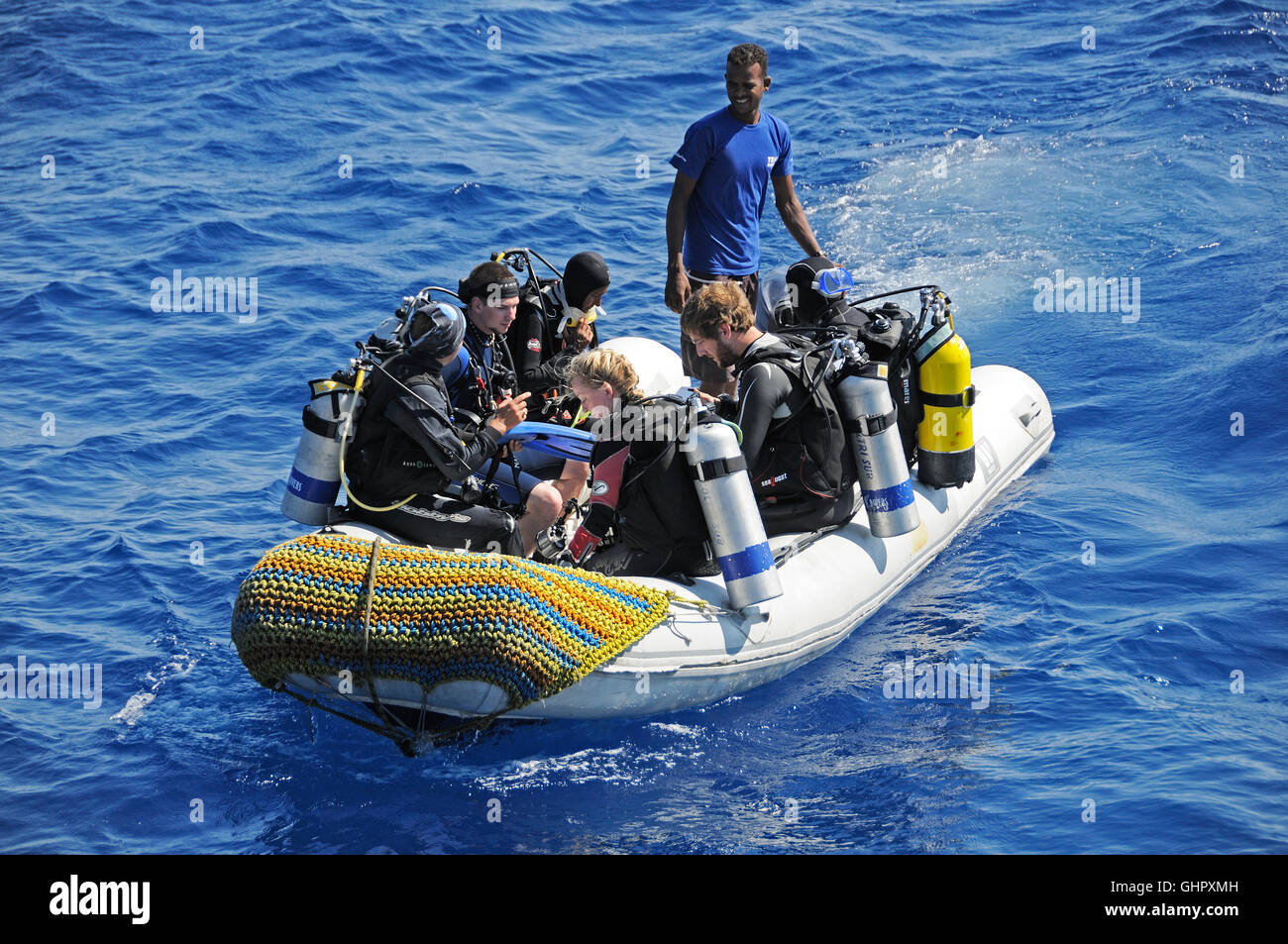 Scuba Diver In Rubber Boat Hurghada Red Sea Egypt Africa Stock - Is egypt in africa