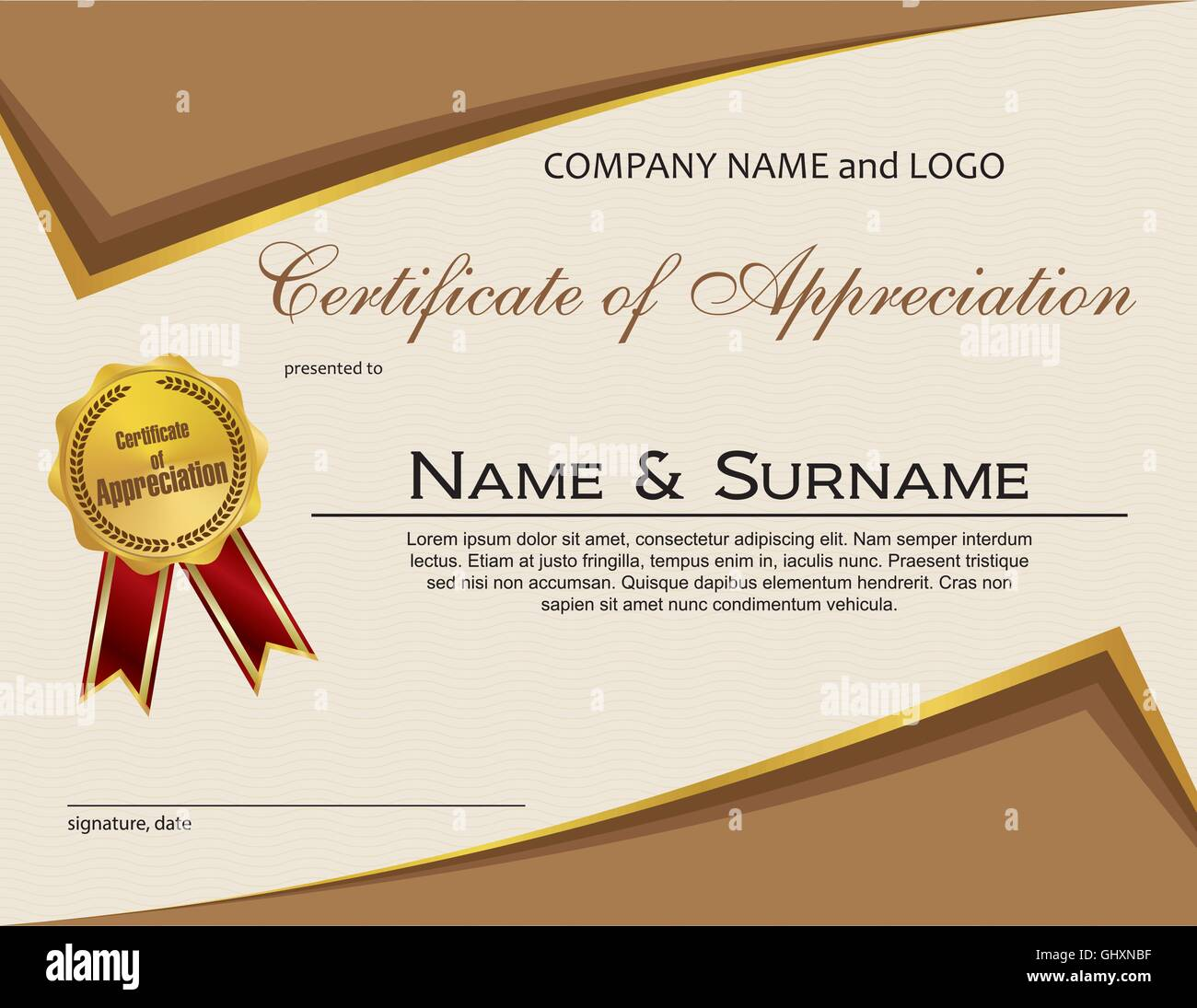 Certificate of appreciation with medal and ribbon stock vector art certificate of appreciation with medal and ribbon yadclub Images