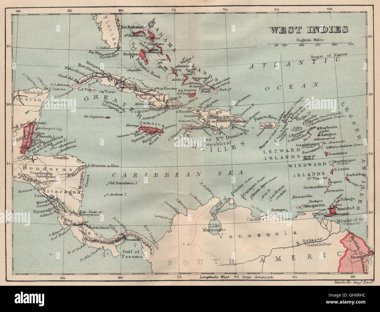 Showing British Islands Colonies Caribbean 1914 Old Map