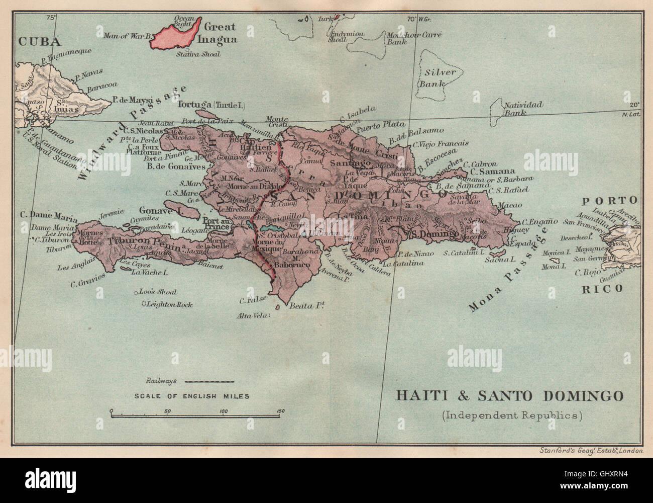 HISPANIOLA Haiti Santo Domingo Dominican Republic Vintage Map - Santo domingo map