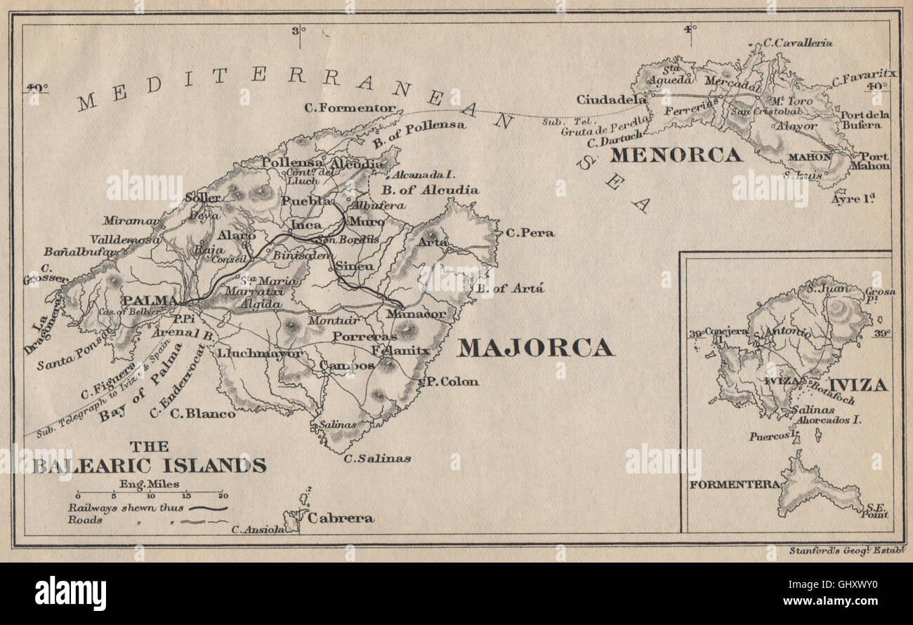 BALEARIC ISLANDS Majorca Menorca Iviza Ibiza Formentera Islas Stock