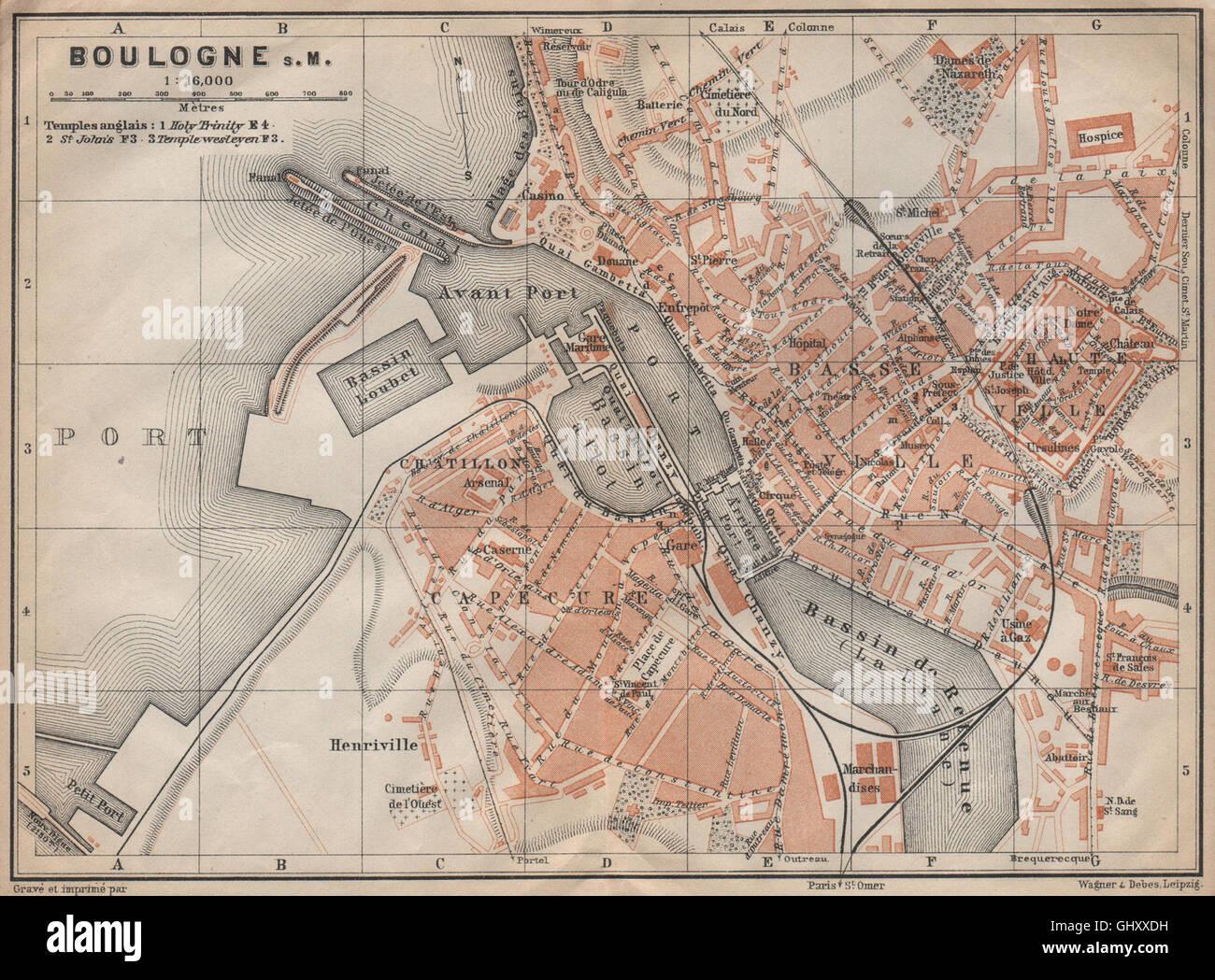 BOULOGNESURMER town city plan de la ville PasdeCalais carte