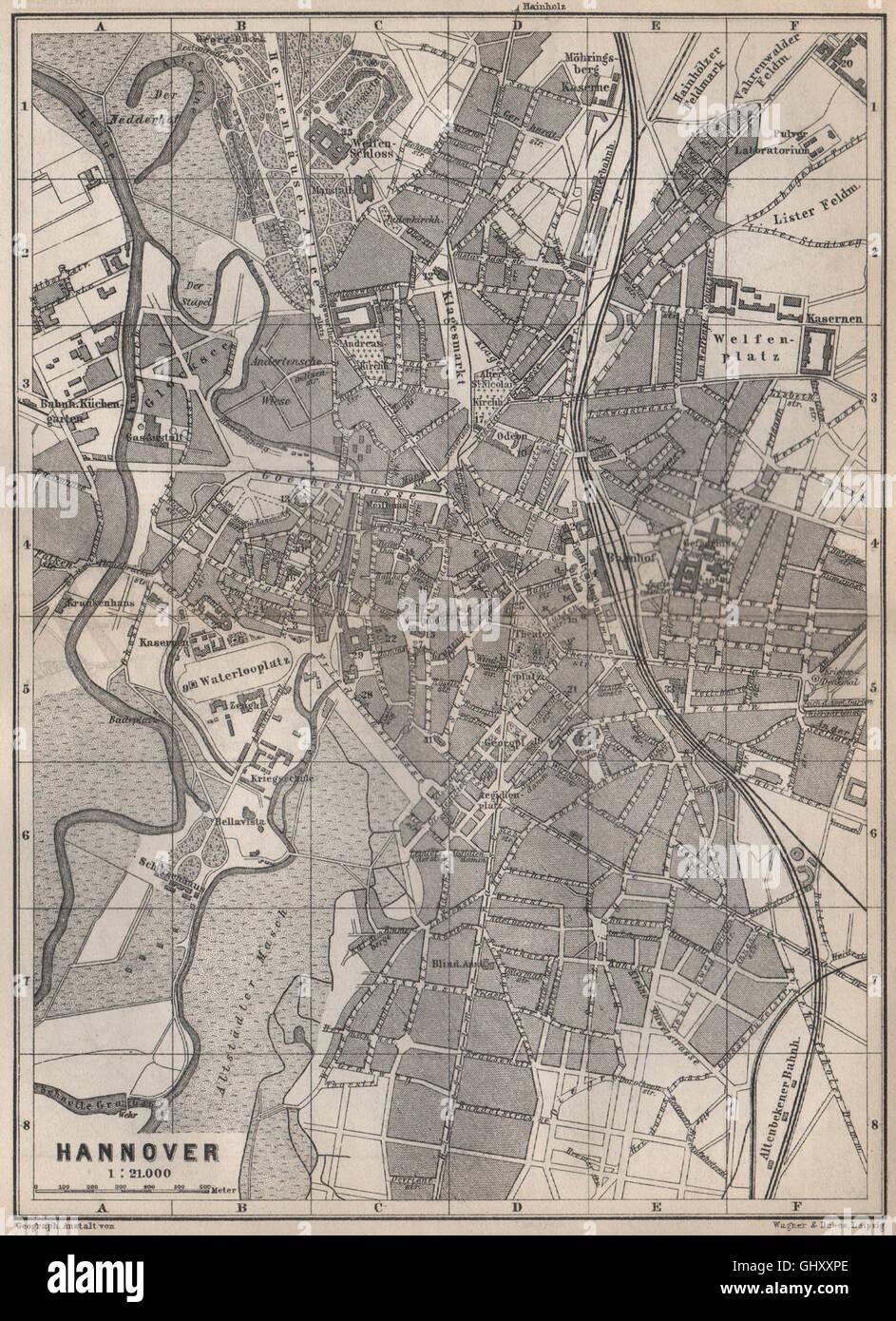 HANNOVER antique town city stadtplan Hanover Lower Saxony karte