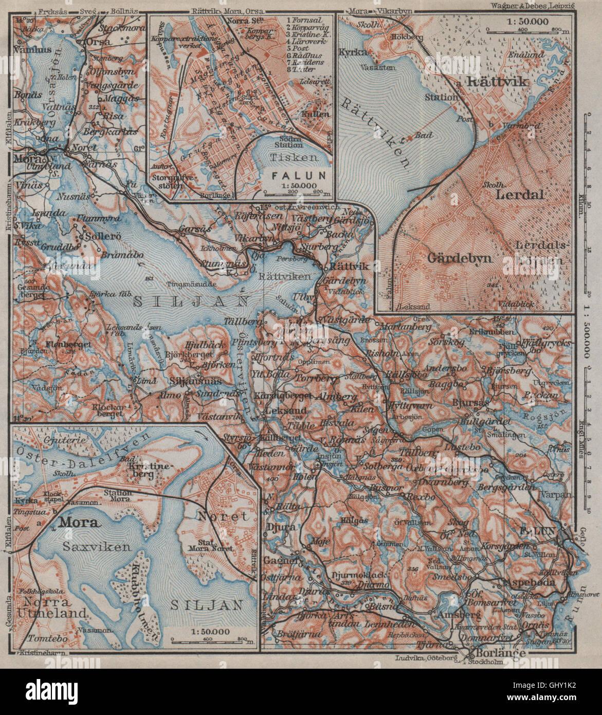 LAKE SILJAN REGION Rättvik Falun Mora Town Plans Sweden Karta - Sweden map mora