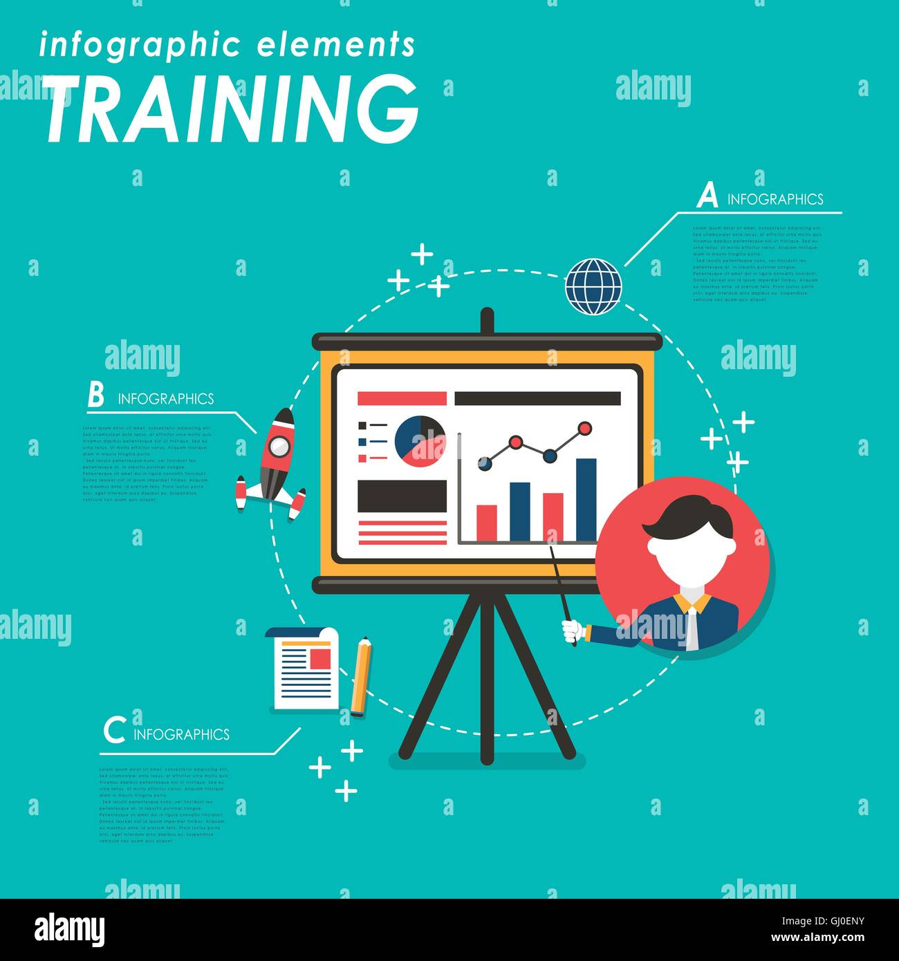 Business training flat design with projector screen and ...