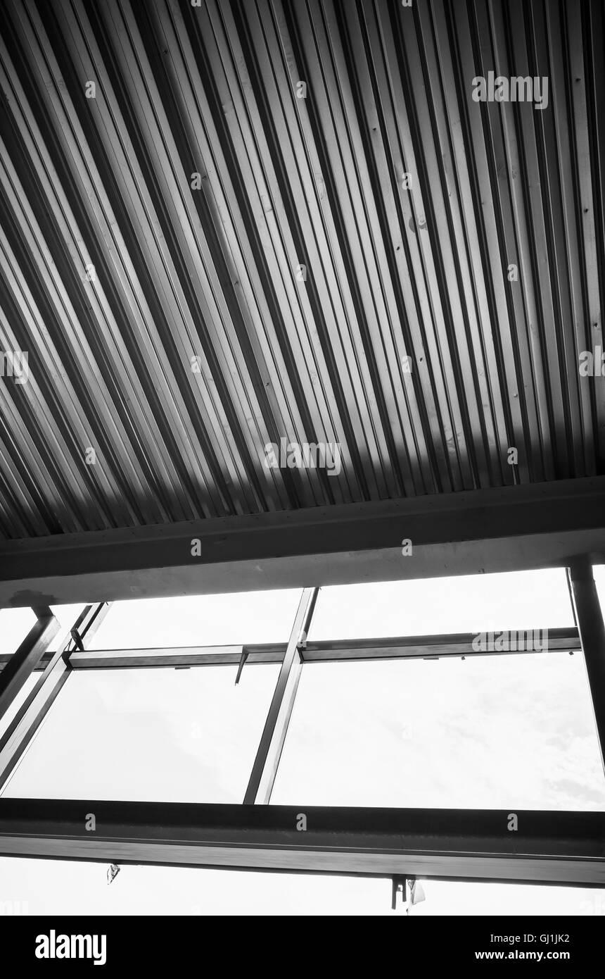 Generic industrial building is under construction. Interior ...