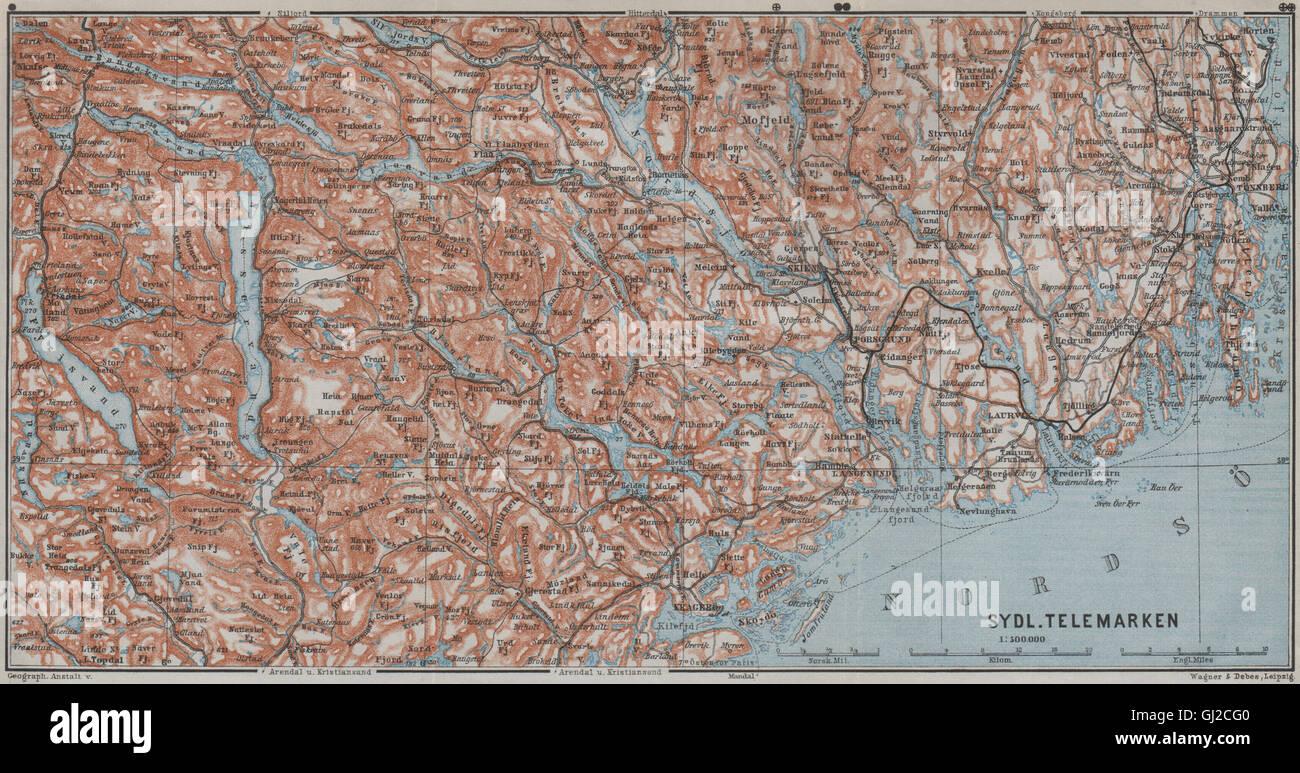 SOUTH TELEMARKEN Tonsberg Larvik Sandefjord Skien Kragero Norway - Norway map larvik