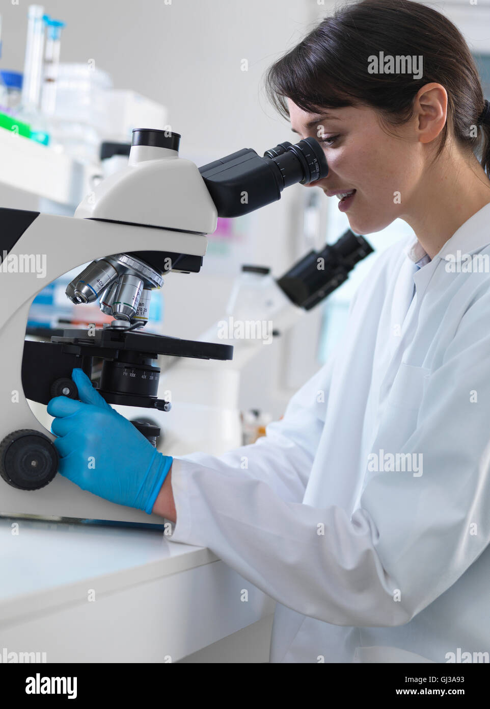 Scientist viewing human tissue sample on microscope in laboratory ...