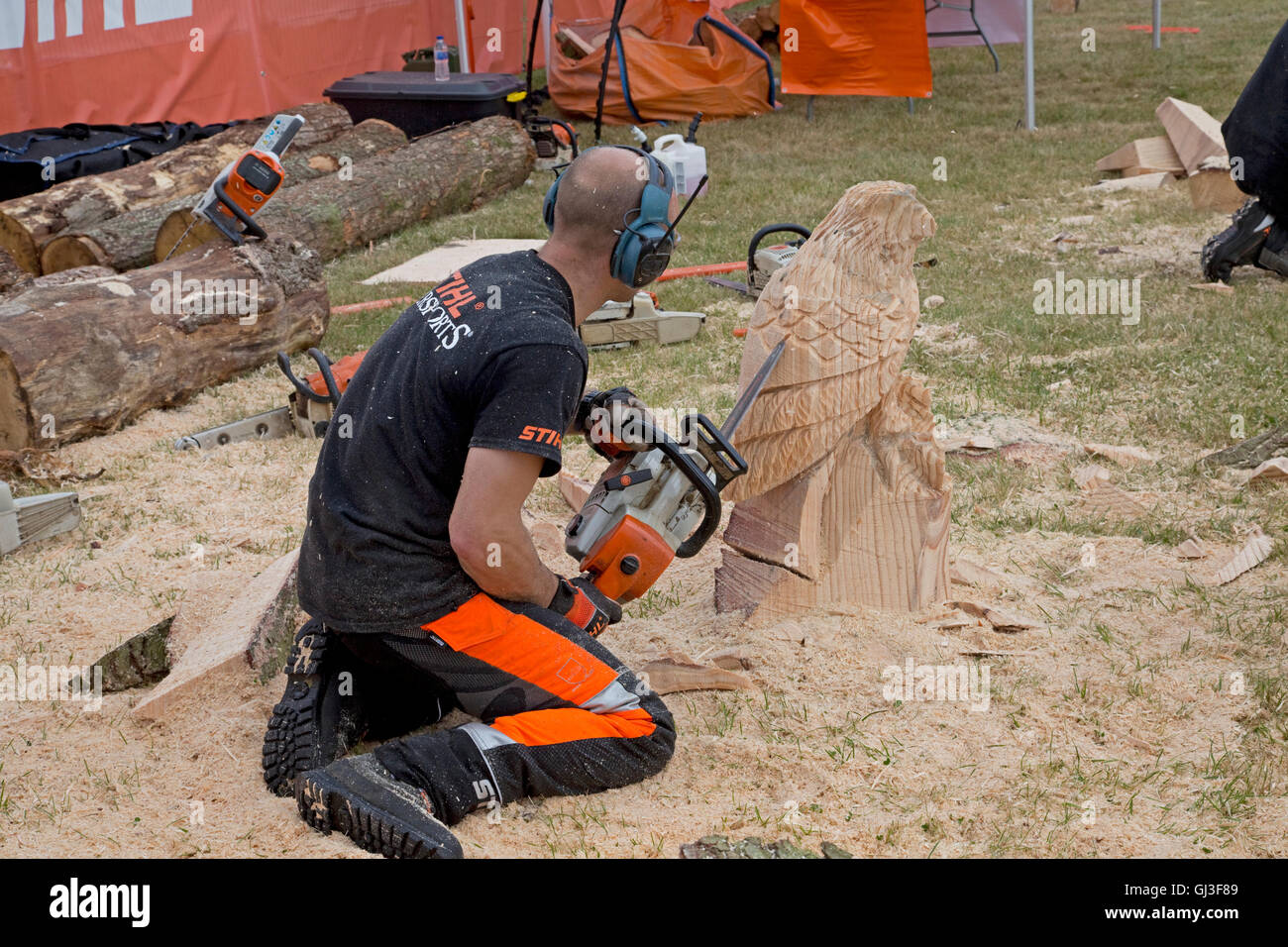 Man chainsaw artist carving eagle from log at countryfile