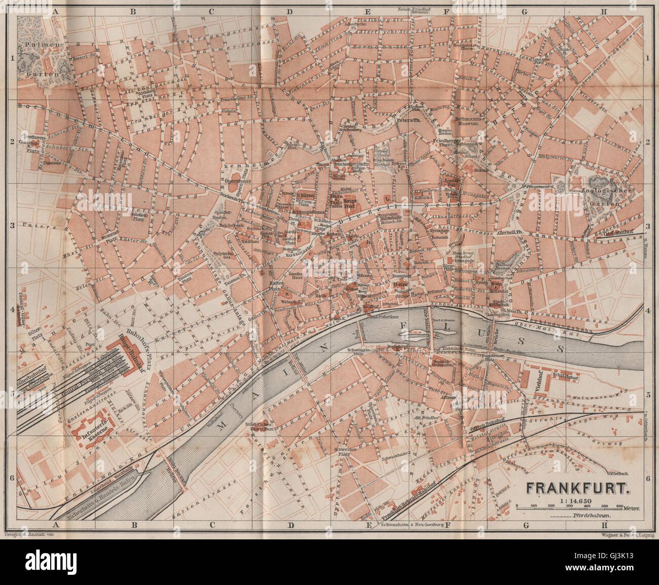 FRANKFURT AM MAIN antique town city stadtplan. Hessen karte Stock ...