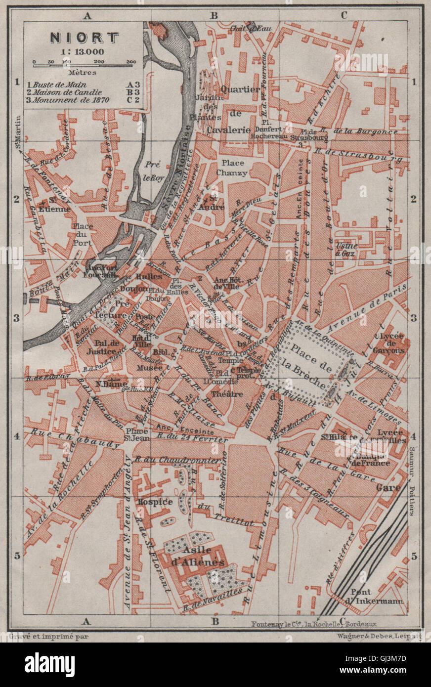 NIORT antique town city plan de la ville DeuxSvres carte Stock