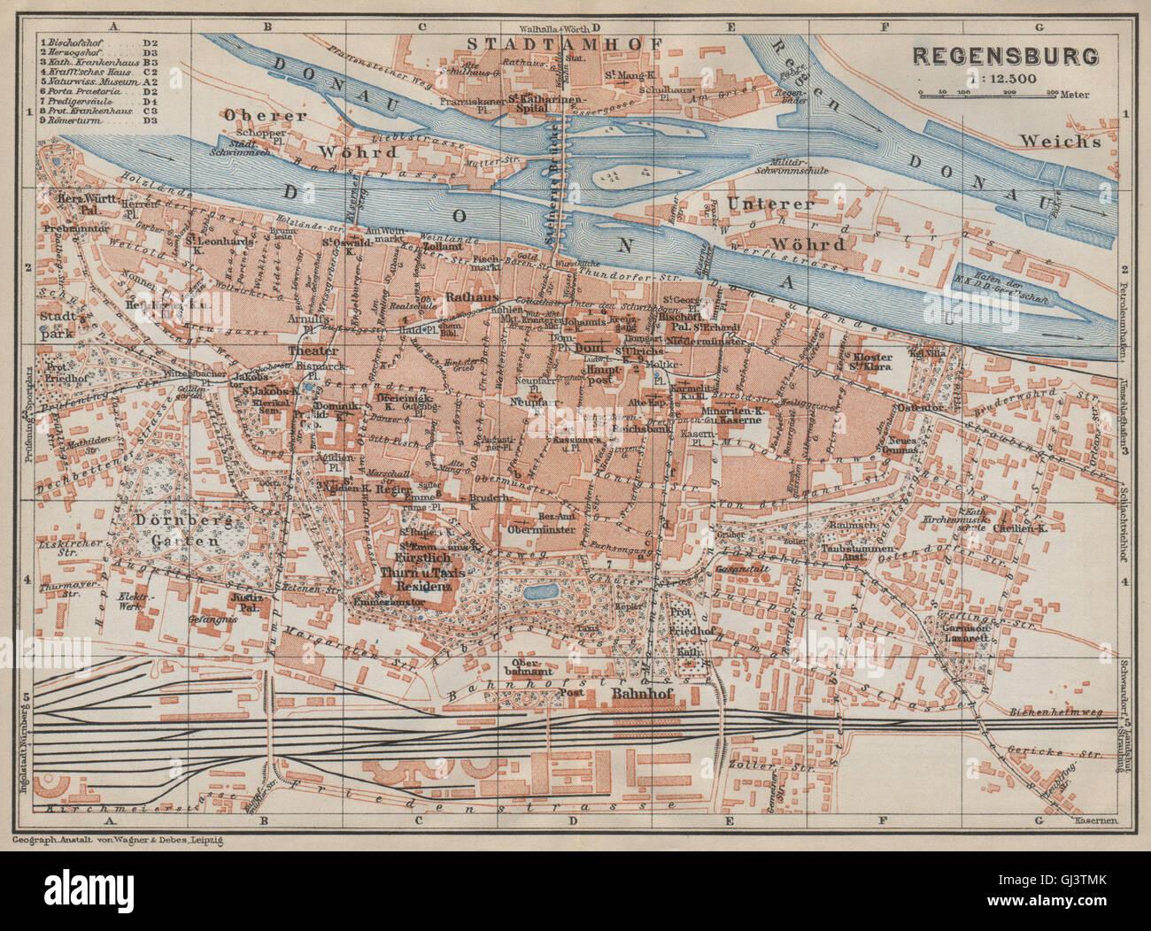 REGENSBURG Town City Stadtplan Bavaria Ratisbon Stadtamhof - Regensburg map
