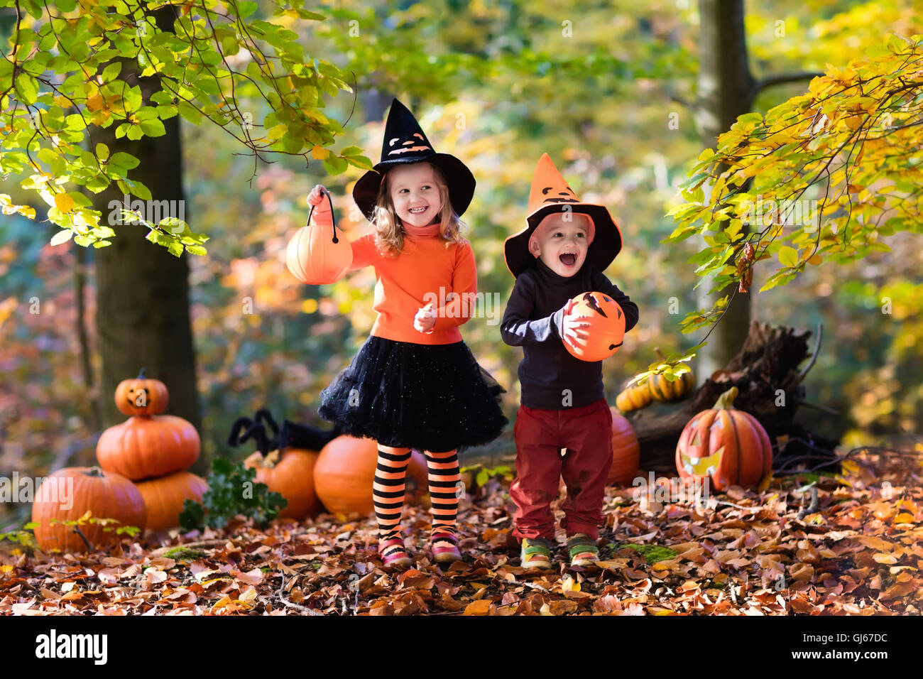 Children wearing black and orange witch costumes with hats playing ...