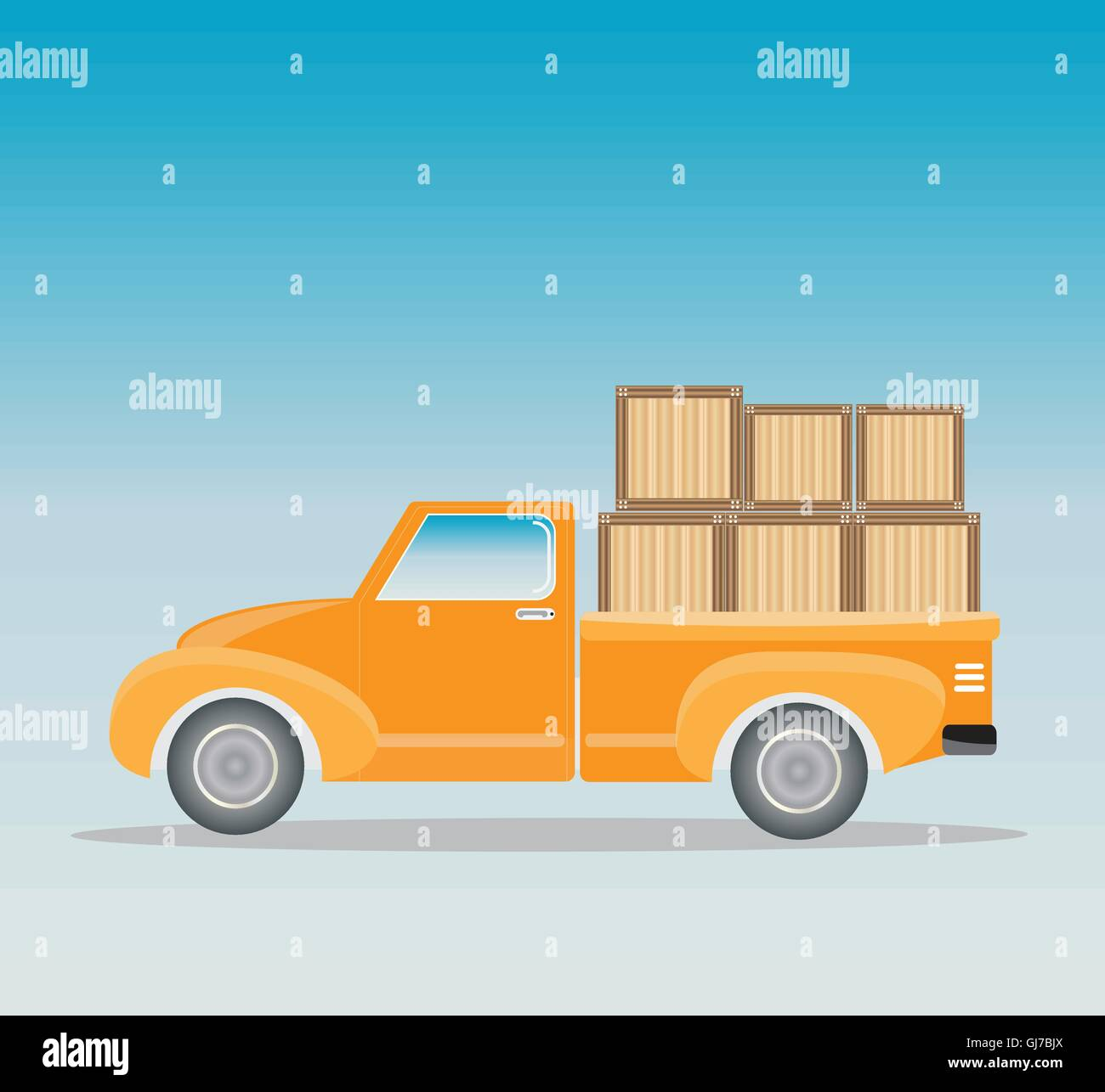 Side view of Old Pick up Truck with wood cargo box Stock Vector Art ...