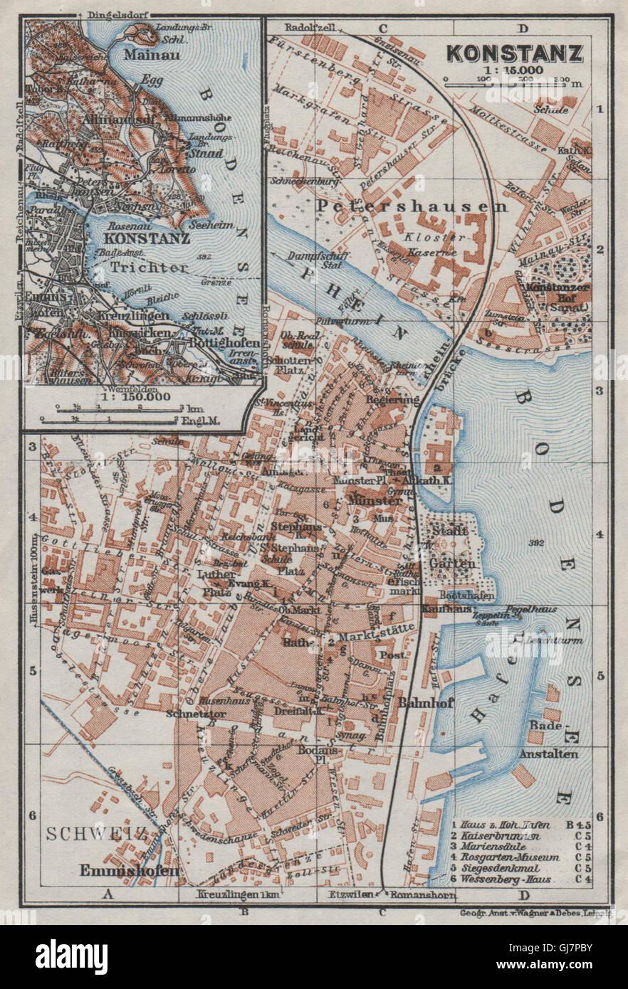 CONSTANCE KONSTANZ Town City Stadtplan Germany Karte BAEDEKER - Germany map konstanz
