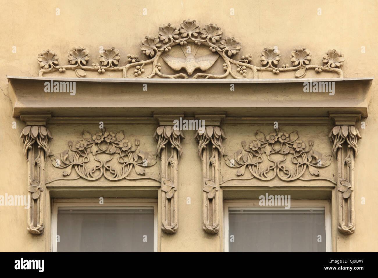Art Nouveau stucco decoration on the revenue house in Smeralova ...