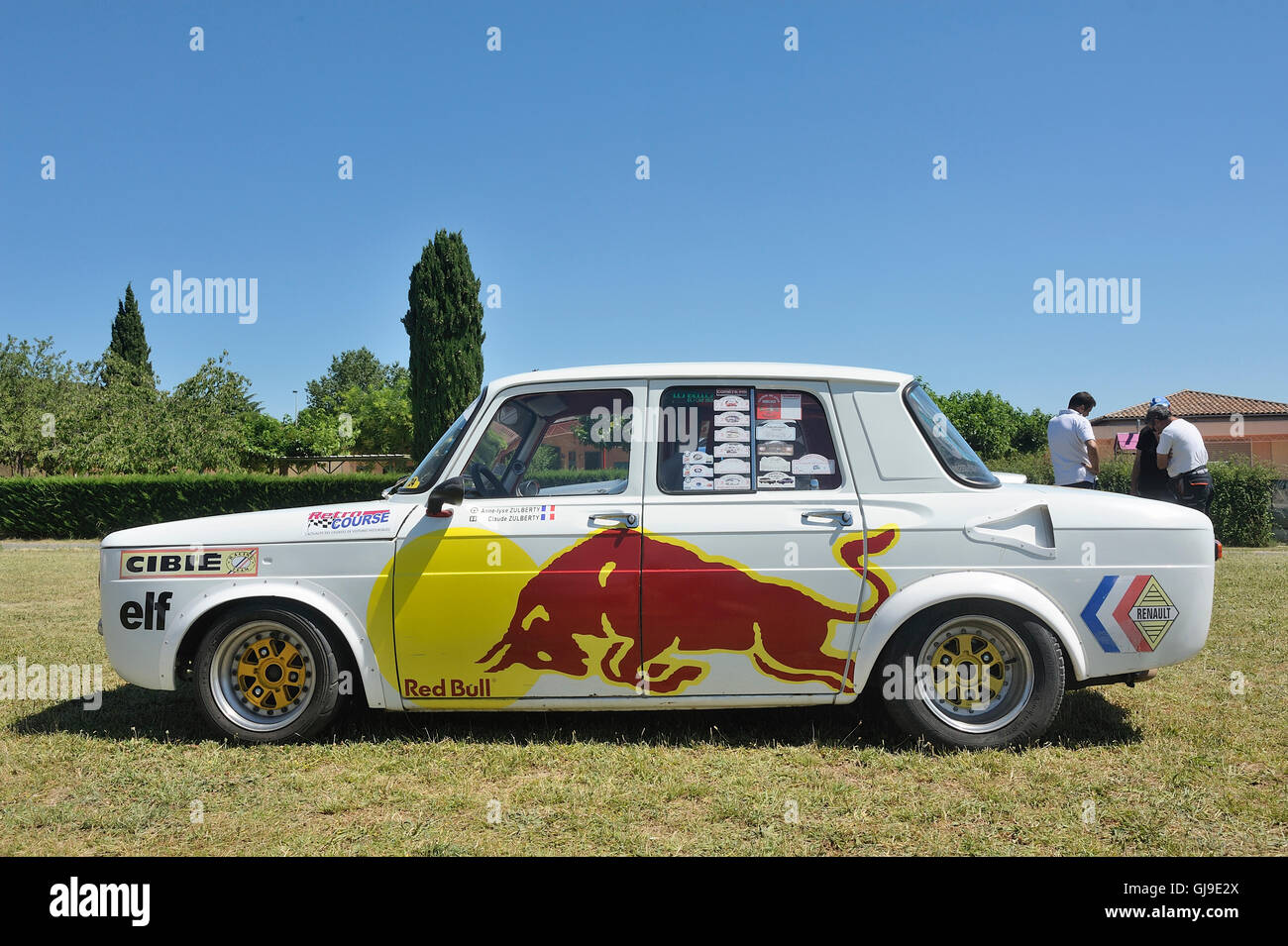 renault 8 gordini racing equipped with red bull advertising on the stock photo 114534642 alamy. Black Bedroom Furniture Sets. Home Design Ideas