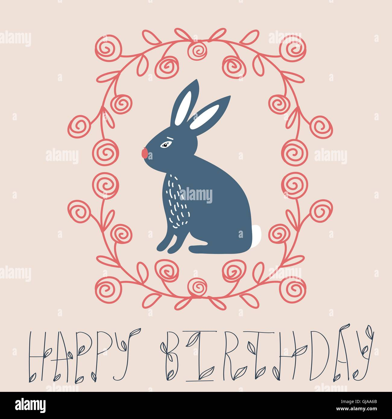 Vintage happy birthday card cute bunny and hand drawn wreath – Happy Birthday Card Cute