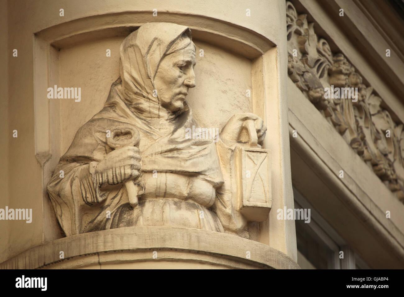 Art Nouveau stucco decoration on the revenue house in Bubenecska ...