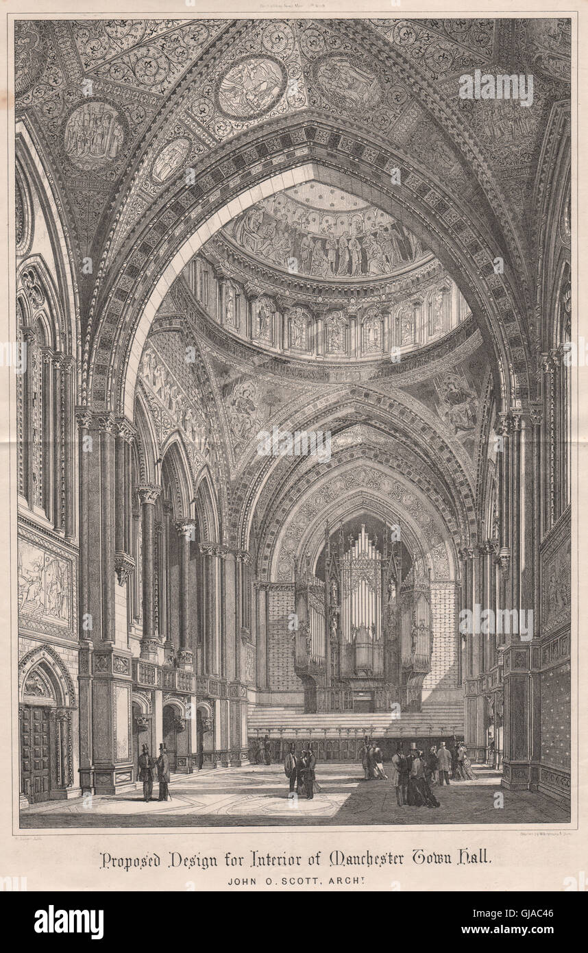 Manchester Town Hall Interior John O Scott Architect Antique Print 1869