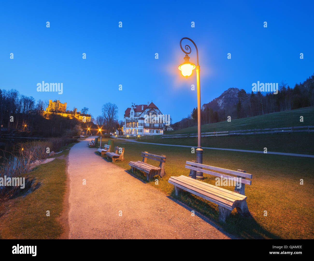 Beautiful benches with street lamp at night in Germany Stock Photo ... for Road Lamp At Night  1lp1fsj