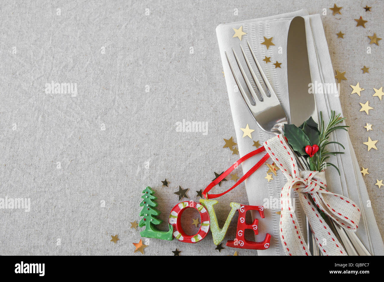 Christmas Table Place Setting Holidays Copy Space