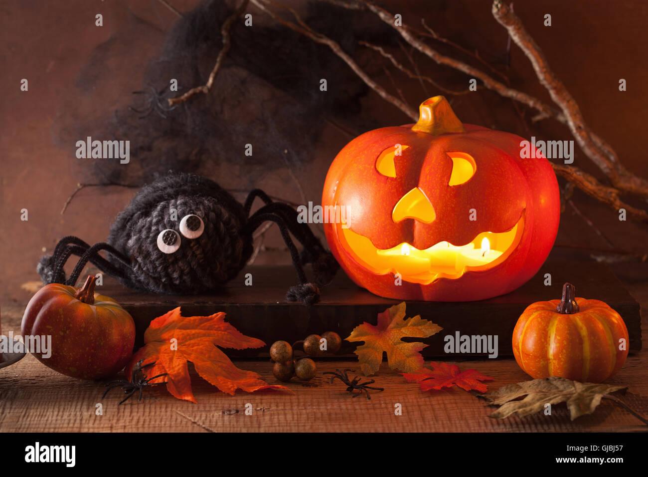 Halloween Jack O Lantern pumpkin decoration spiders candles Stock ...