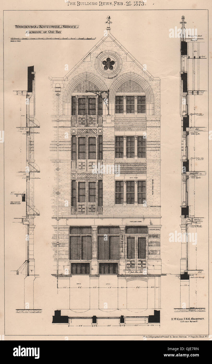 Warehouses southwark street elevation of one bay rw edis architect 1873