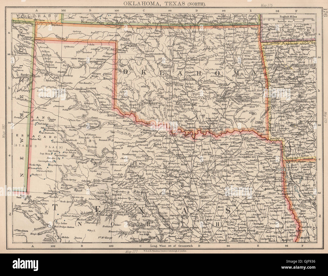 USA SOUTH CENTRAL Oklahoma North Texas Railroads JOHNSTON - North texas map