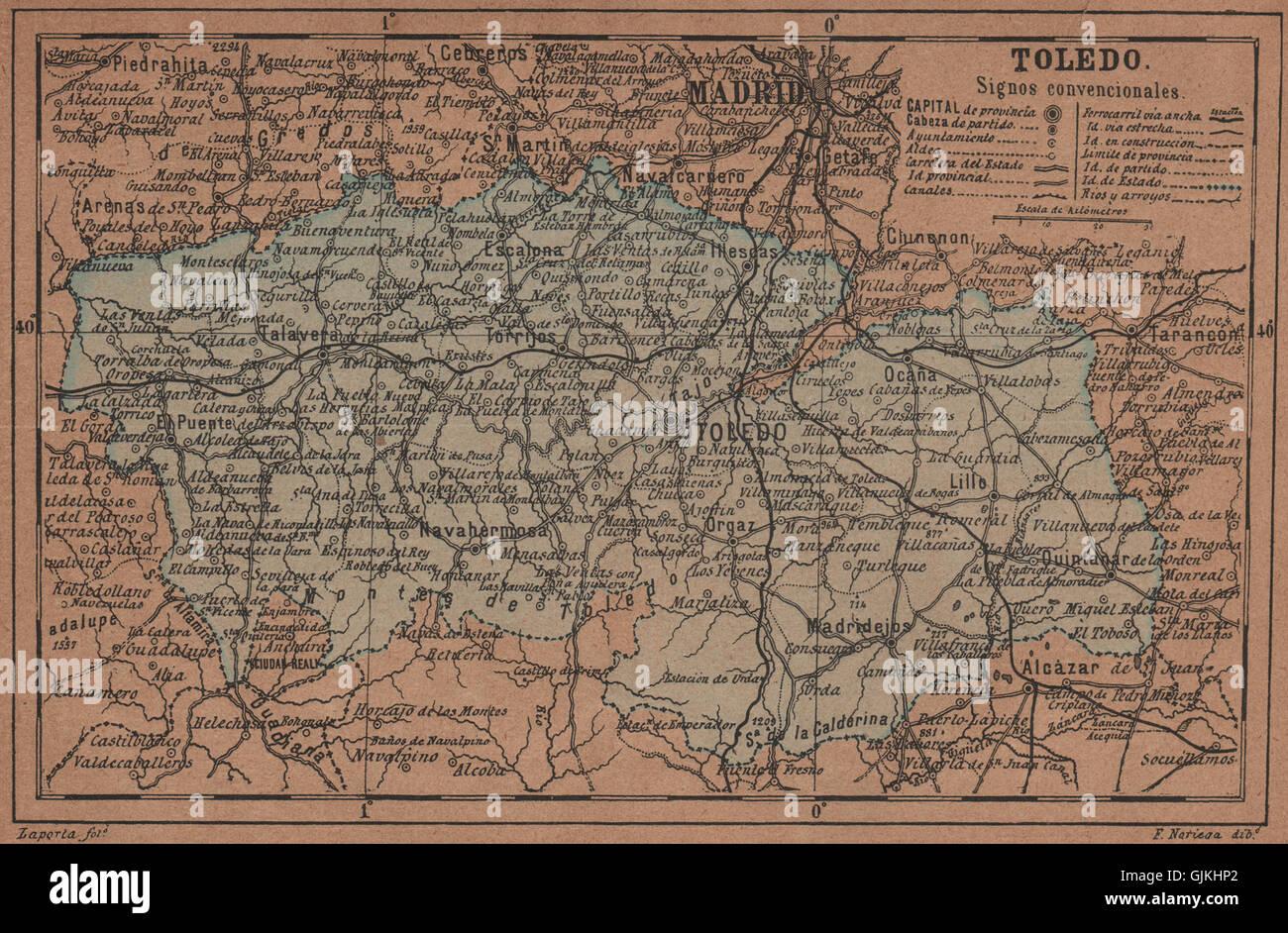 TOLEDO CastillaLa Mancha Mapa antiguo de la provincia 1905