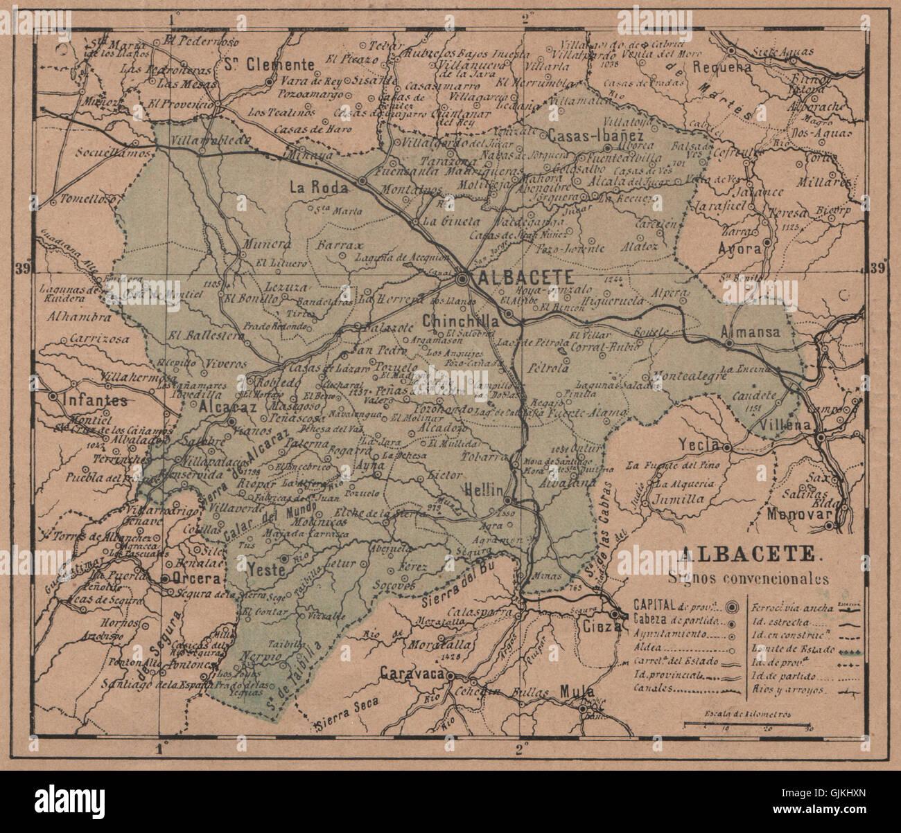 ALBACETE CastillaLa Mancha Mapa antiguo de la provincia 1908